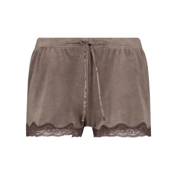 Hunkemöller Shorts aus Velours mit Spitze